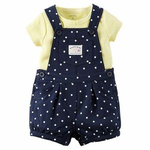 Carter's Navy and Yellow Overall Shortalls Set